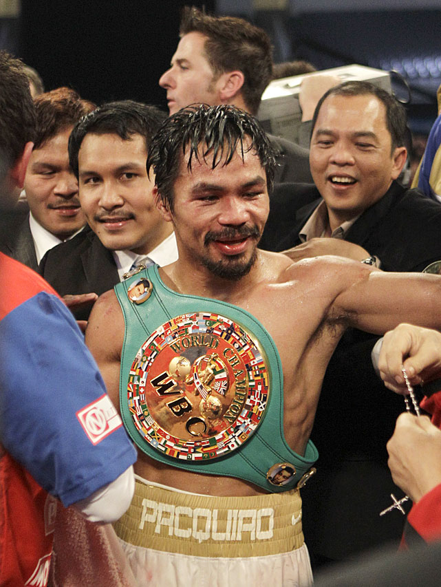 With eight titles in eight different weight divisions, Pacquaio has written himself into the fistic annals.