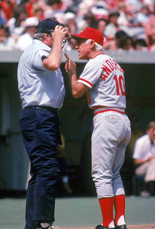 Anderson shares his opinions with an umpire during a Reds-Padres game. Anderson spent nine seasons managing the Reds and won two World Series titles (1975, 76) and has his No. 10 jersey retired at Great American Ball Park.
