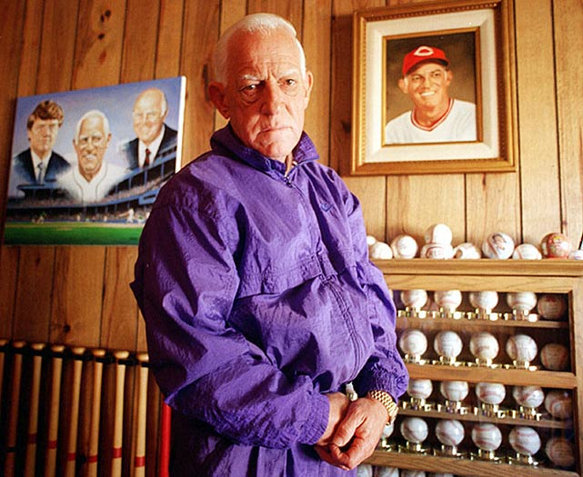Anderson shows off his baseball memorabilia at his home in Thousand Oaks, Calif.