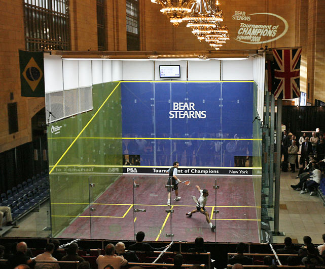 New York City's Grand Central Terminal is swarming with thousands of busy commuters each day, but in Jan. 2008 it hosted a squash tournament. In this match, Egypt's Anwar Reda took on countryman Mohammed Abbas.