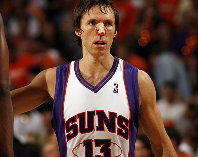Known for his gritty play, Nash broke his nose in the 2010 Western Conference Finals after he was head-butted by a charging Derek Fisher.  Toughened by his childhood as hockey player in Canada, he shook off the injury, then proceeded to shake off the Lakers.  Phoenix cruised to a 118-109 in Game 3.