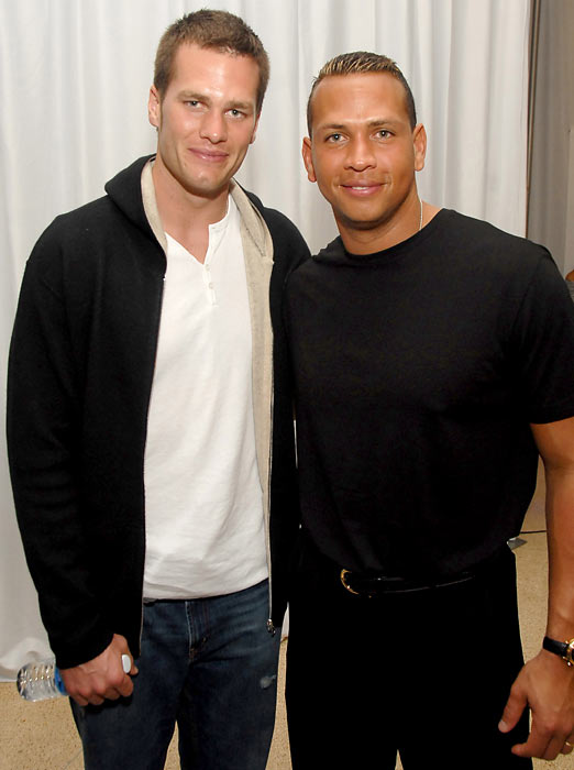 Though he's a sworn enemy of the Red Sox, Alex Rodriguez cozies up to Tom Brady for a photo during Maxim Magazine's Super Bowl XLI party.