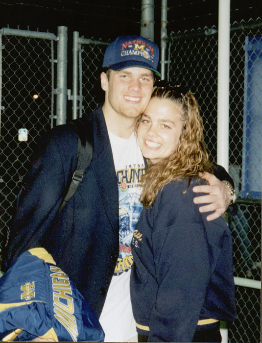 Tom Brady poses with his sister Nancy after Michigan won the 1997 national championship.
