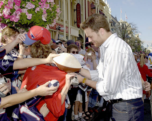 Brady made sure he wasn't a one-hit wonder, leading the Patriots to 17 straight victories in 2003 and a second Super Bowl. After New England's 32-29 championship victory over Carolina, Brady visited Disney World.