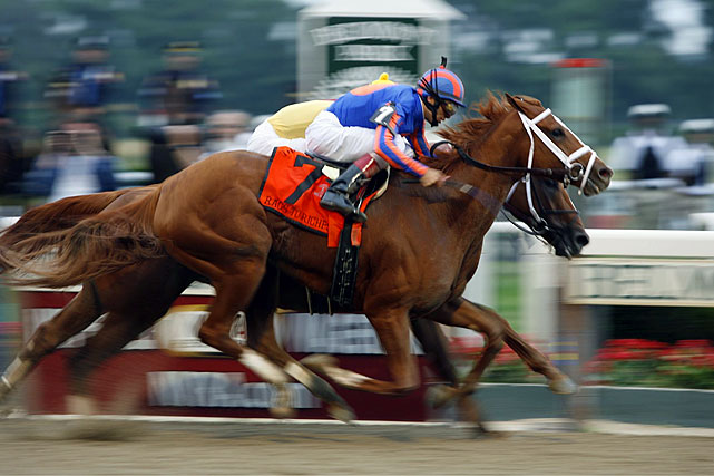 Finishing 6-1, Rags to Riches became the first filly in more than a century to win the Belmont Stakes, which she did in 2007 with a hard-fought, neck-and-neck battle with favorite Curlin. Unfortunately Rags to Riches' career was cut short after she suffered a hairline fracture at the Gazelle Stakes in 2007.