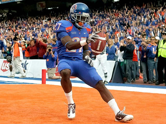 Quarterback Kellen Moore threw two uncharacteristic interceptions, but there's not much else bad to say about Boise State. Moore also passed for 507 yards and three touchdowns, Jeremy Avery (pictured) delivered 93 yards and three scores on just 10 carries and the Boise defense held the nation's leading passing attack to 136 yards.