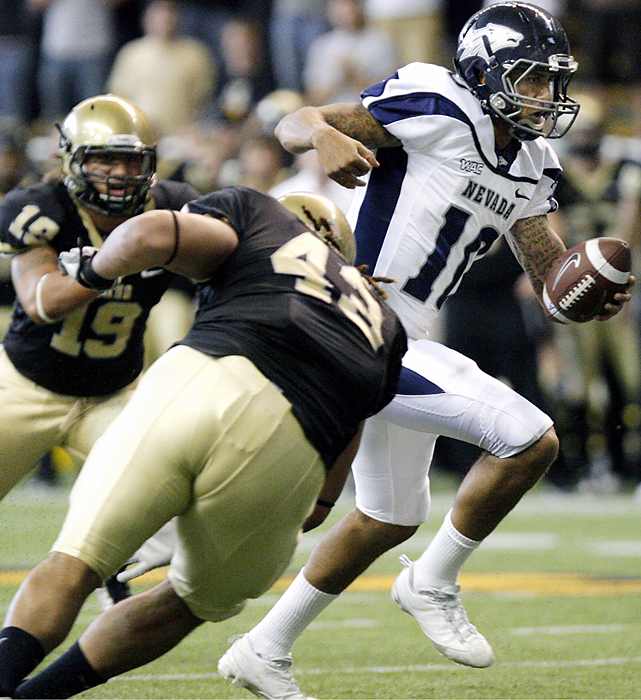 Colin Kaepernick is best known as one of the most prolific running quarterbacks of all time. The Nevada star can throw it around, too. Kaepernick (right) threw a career-high five touchdown passes and No. 25 Nevada piled up a team-record 844 yards of offense as the Wolf Pack cruised.
