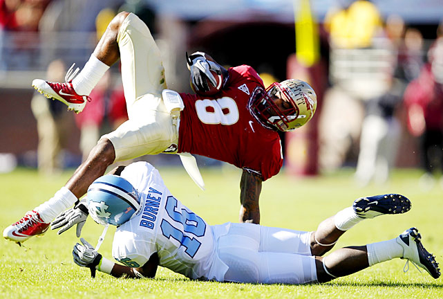 "Florida State fans are no strangers to the words ""wide right,"" and they heard them again Saturday against UNC. The Tar Heels got a huge day from quarterback T.J. Yates (439 yards, three touchdowns) and three clutch field goals from Casey Barth, including what proved to be the game-winner with 55 seconds left. The Seminoles couldn't match that, as kicker Dustin Hopkins missed two field goals in the fourth quarter, including a 40-yarder with seven seconds left that went wide right."