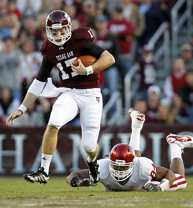 Ryan Tannehill (shown) threw for 225 yards and two touchdowns, Cyrus Gray added 122 yards rushing another score as the Aggies broke a seven-game losing streak to the Sooners. Texas A&M won its third straight overall and beat the Sooners for the first time since 2002. It ended a string of misery against the Sooners that included being outscored 131-38 in the last two meetings.