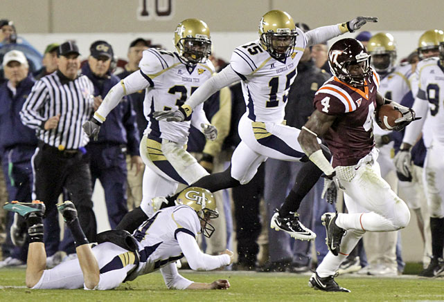 Virginia Tech nearly redshirted sophomore running back David Wilson. After Thursday night's win over Georgia Tech, the Hokies were very glad they didn't. Wilson scored on a 15-yard run to even the score at 14 a piece in the fourth-quarter, then scored the game-winning touchdown on a 90-yard kickoff return with 2:23 to play. Virginia Tech remains the only unbeaten team in ACC play.