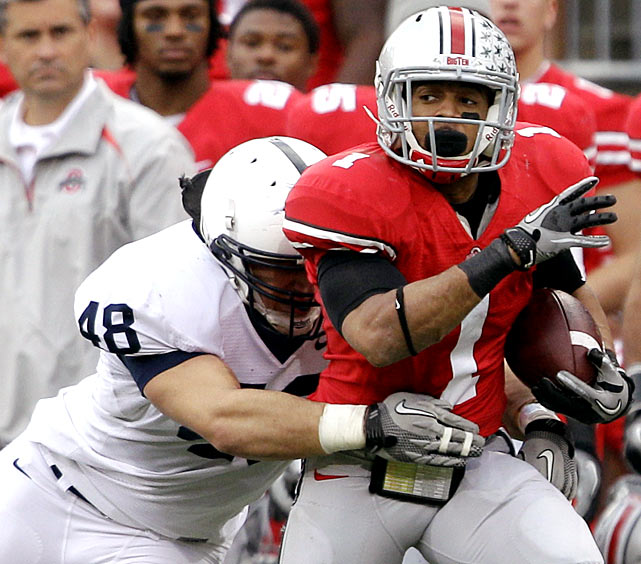 Ohio State trailed 14-3 at halftime, but the Buckeyes outscored the Nittany Lions 35-0 in the second half to seal the win and keep their Big Ten title hopes intact. Terrelle Pryor didn't light up the scoreboard (139 yards, two TDs, one INT), but the Buckeyes turned the tide with two interception returns for touchdowns.