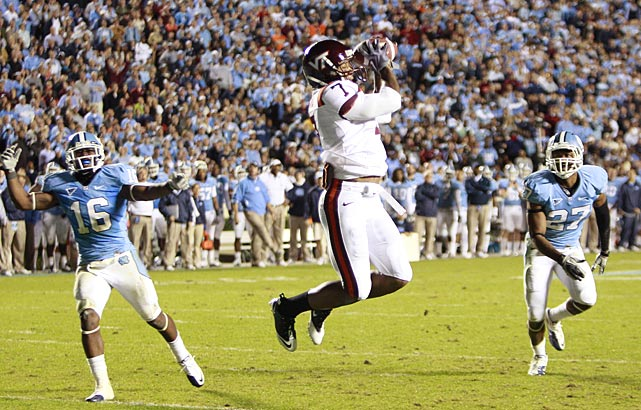 Virginia Tech's comeback continues. The Hokies trailed 10-9 at the half, but Tyrod Taylor found Marcus Davis (7) for two third-quarter touchdowns, and the Virginia Tech defense picked off UNC quarterback T.J. Yates four times.