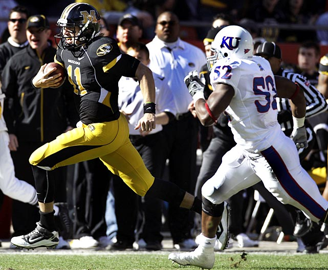 Missouri drew 95 yards in penalties, but it didn't matter. The Tigers (10-2, 6-2 Big 12) dominated the Jayhawks (3-9, 1-7) in the 119th meeting between the programs, netting 393 yards to Kansas' 142. Kansas has lost 16 of 19 since opening with five straight wins in 2009.