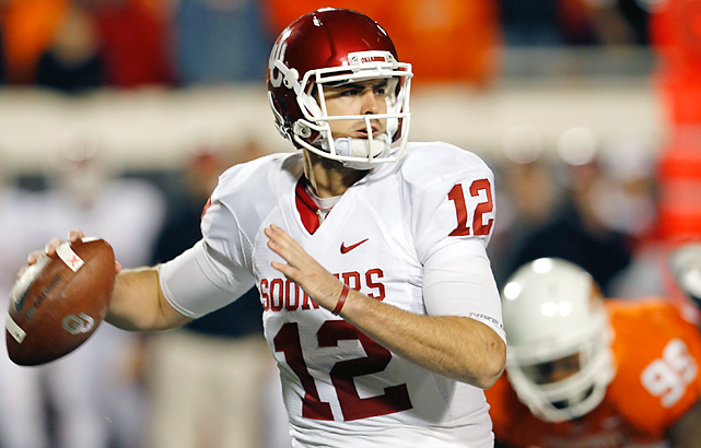 Landry Jones matched the school record with 468 yards passing and threw two long touchdown passes in a wild finish to the Bedlam game as Oklahoma forged a three-way tie atop the Big 12 South. Jones threw an 86-yard touchdown pass to Cameron Kenney then answered Justin Gilbert's kickoff return score for Oklahoma State (10-2 overall, 6-2 in the Big 12) with a 76-yarder to James Hanna 29 seconds later as the Sooners (10-2, 6-2) survived to likely earn a spot in the Big 12 title game.