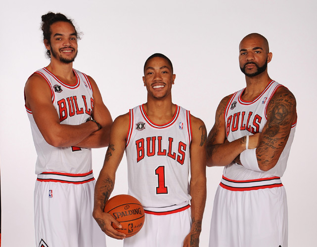 They've yet to take the floor together in the regular season -- Boozer remains sidelined with a hand injury -- but when they do, Chicago fans should see its most talented team in years. With a rebounder like Noah, a scorer like Boozer and a dynamic guard like Rose, the Bulls have as balanced a trio as anyone around the league.