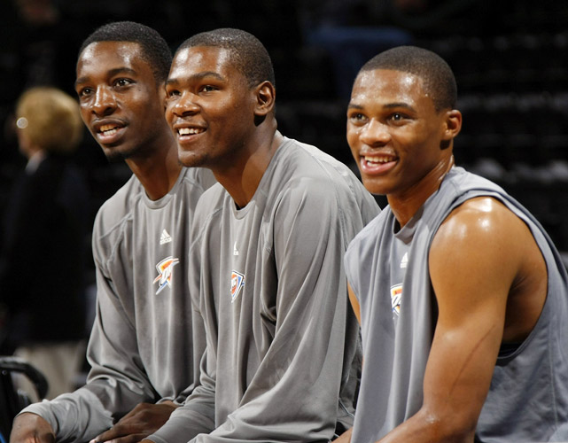 The Thunder's homegrown trio is developing into one of the finest around the league. In Westbrook (21), Durant (22) and Green (24), Oklahoma City has the youngest nucleus in the league. And with Westbrook and Green still on their rookie contracts, it is also one of the most affordable, not to mention one of the most talented.