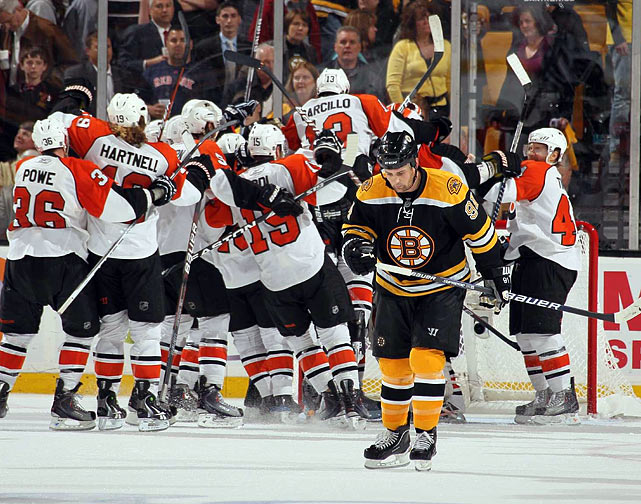 Up 3-0 in the first period of Game 7 of their Eastern Conference semi-final playoff series with the Philadelphia Flyers, the B's found a way to become only the third team in NHL history to flush a three-games-to-one lead and lose a seven-game series. The killer: the winning goal was scored with 7:08 left in the third period after the Bruins were called for having too many men on the ice.