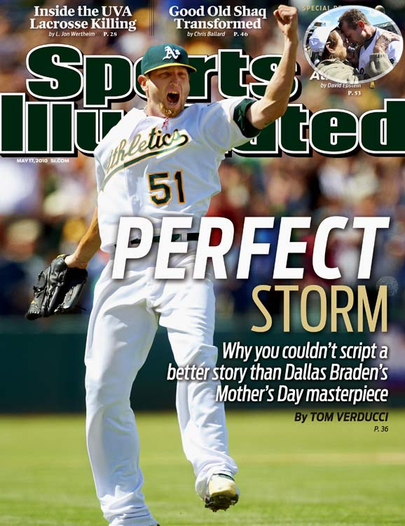 "The youngest pitcher to throw a perfect game since Mike Witt in 1984, Dallas Braden did so on May 9, 2010, Mother's Day. Braden's mother had died of cancer when he was in high school, but his grandmother, who had raised him after his mother's death, was in attendance for his flawless performance. After the game, Braden found his grandmother and the two embraced. Her first words were, ""Your mom would have been so proud."""