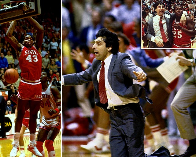 "Jim Valvano lived his life by the simple mantra, ""don't give up; don't ever give up."" It was a mantra he preached to his N.C. State basketball team in the closing seconds of the 1983 NCAA finals, and it was a mantra he lived by during his battle with bone cancer in the early `90s. The '83 Wolfpack were able to overcome insurmountable odds, beating a top-seeded Houston team on a last-second shot, but Valvano succumbed to cancer after a yearlong battle. His legacy of courage and perseverance, however, are immortal."