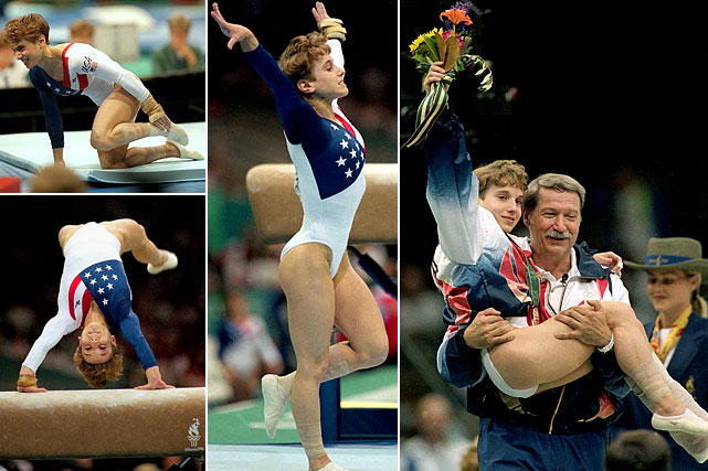 Ignoring the pain of an ankle injury suffered on her first vault , Kerri Strug approached her second attempt knowing the U.S. hopes for a gold medal rested on her performance. She jumped the vault again and landed, instantly shifting to her good foot. Two feet or not, her heroics were enough to net the U.S. a gold.