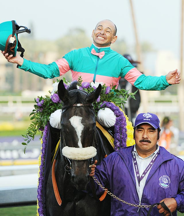 After her Lady's Secret victory, it was announced that Zenyatta would enter the Breeders' Cup Classic.  No filly or mare had ever won the Classic, which began in 1984.  On Nov. 7, Zenyatta won the longest race of her career (1 1/4 miles) to become the first female horse to win the Breeders' Cup and win two different Breeders' Cup races.  She beat a field that included Mine That Bird and Summer Bird.
