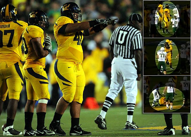 If you can't beat 'em, feign injury. That was the game plan by Cal (and before that Arizona State and others), which faked injury to slow down Oregon's fast-paced, high-octane offense on Nov. 13. Cal eventually suspended its defensive line coach, Tosh Lupoi, for instructing defensive lineman Aaron Tipoti (pictured) to take a dive.