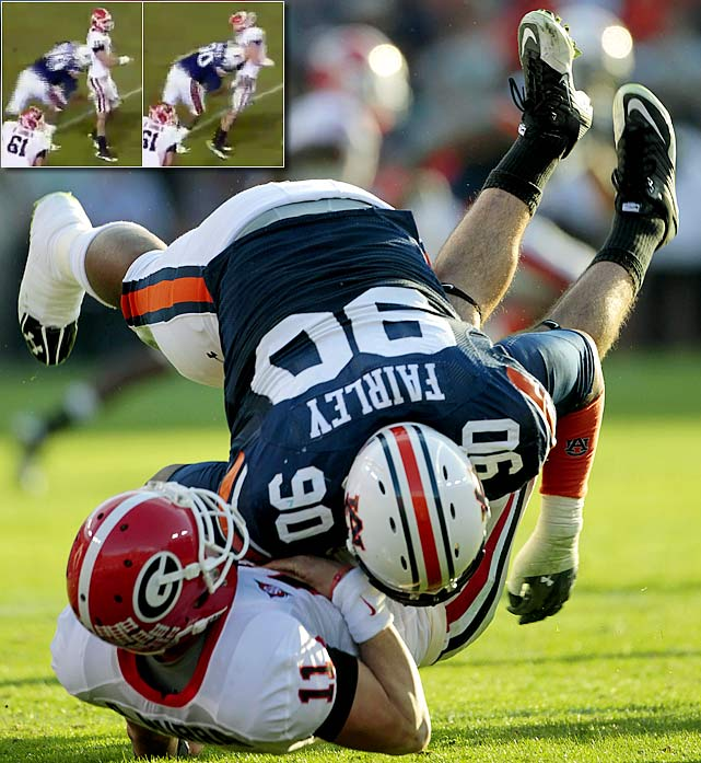 Auburn's Nick Fairley hit Georgia quarterback Aaron Murray two steps after Murray released a pass during their game on Nov. 13. The Auburn defender drove his helmet into Murray's back and was called for a 15-yard roughing-the-passer penalty -- just one example, Fairley's critics say, of his dirty play this season. Many believed the play was worthy of an ejection.