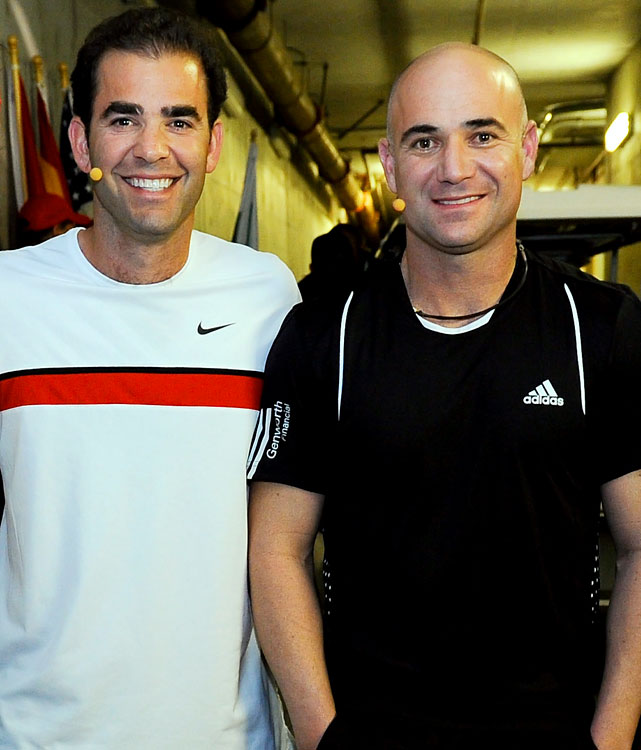 Serving up an ugly moment at an exhibition benefit in March for the Haiti earthquake fund, Andre Agassi and Pete Sampras settled old scores and played out hostilities from the pages of Agassi's memoir. Agassi wrote about Sampras' alleged stinginess and robotic nature, and emphasized those points again while mic'd during the exhibition match. In response, Sampras served at Agassi's head.