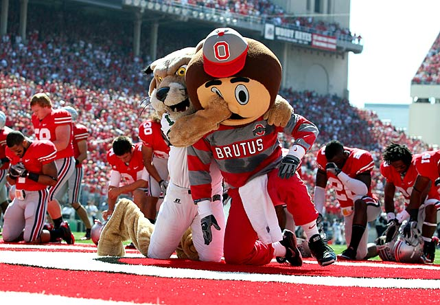 Rufus, the Ohio University bobcat mascot, twice pounced on Brutus, the Ohio State mascot, in premeditated attacks Sept. 18 in an incident in which the fur really flew. Rufus later apologized to his costumed colleague. (Apparently Ohio U. is one of the Little Sisters of the Middle Class.)