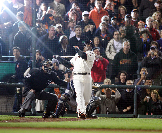 Bonds turned 40 midway through the 2004 season, when he batted .362, slugged .812, broke his own records for walks (232) and on-base percentage (.609) -- and bagged his fourth consecutive National League MVP award. The left fielder, who bested Hank Aaron's career home run record in 2007, also holds the all-time mark for most round-trippers past the age of 40 (79).