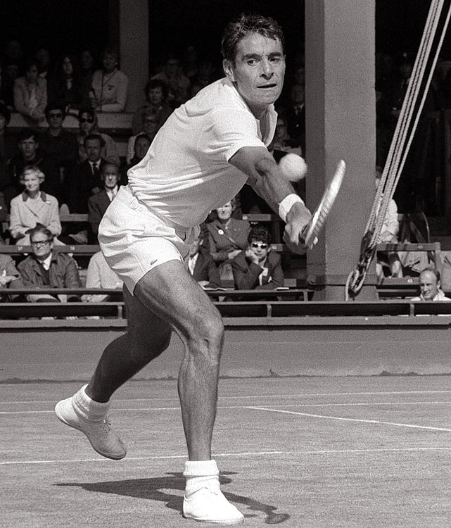 The longtime No. 1-ranked American was 41 at Wimbledon in 1969, when he rallied for a 22-24, 1-6, 16-14, 6-3, 11-9 over Charlie Pasarell in the longest match ever played until the John Isner-Nicolas Mahut marathon in 2010. He became the oldest player to win a pro tournament in 1972, bagging the Des Moines Open title just three months shy of his 44th birthday.