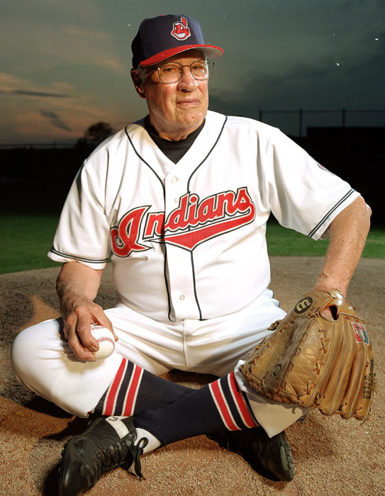 Feller poses in his Indians uniform. Over his 16-year career, the right-hander pitched three no-hitters and a record 12 one-hit games.