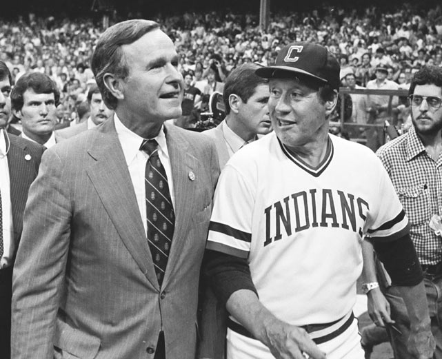 Feller accompanies Vice-President George Bush before the 1981 All-Star Game  in Cleveland.
