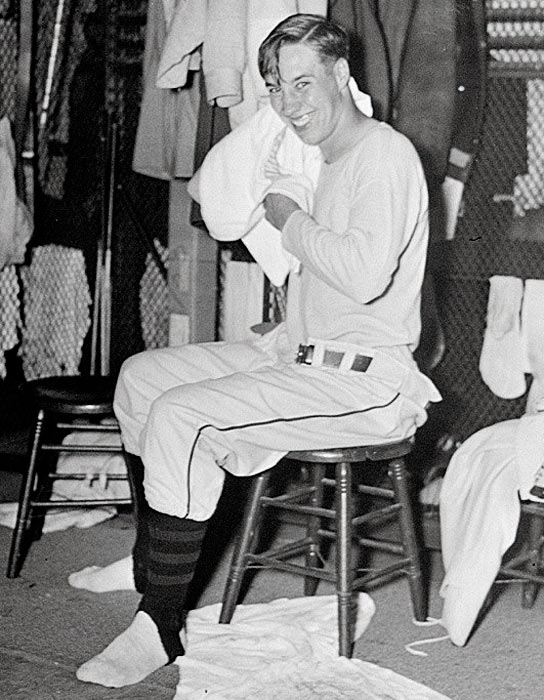 Feller smiles in the Indians' locker room after striking out 17 batters in a game against Philadelphia, tying Dizzy Dean for the most strikeouts in a big-league game.