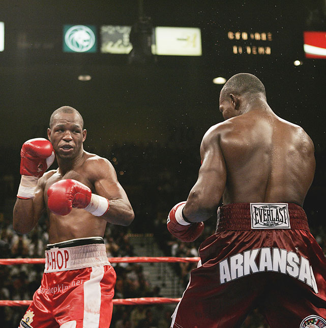 Jermain Taylor (right) became the first opponent to defeat Hopkins in more than 10 years, winning a pair of razor-thin decisions in 2005.