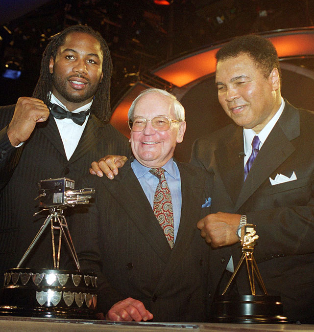 In addition to the six living inductees, the Boxing Hall of Fame also released the names of six posthumous honorees: Broadcaster Harry Carpenter in the Observer Category (pictured, with Lennox Lewis and Muhammad Ali); bantamweight Memphis Pal Moore, light heavyweight champion Jack Root and welterweight and middleweight Dave Shade in the Old-Timer Category; promoter A.F. Bettinson in the Non Participant Category; and John Gully in the Pioneer Category.