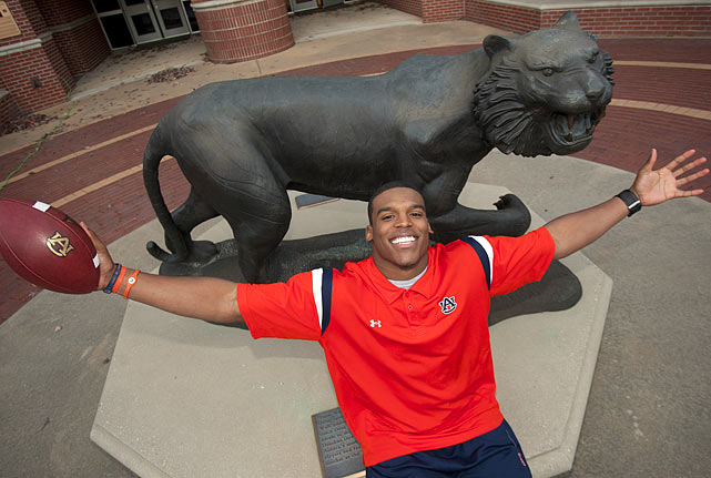 Newton poses in front of the Tiger on the Auburn campus. He will find out on Dec. 11 if he won the 2010 Heisman Trophy.