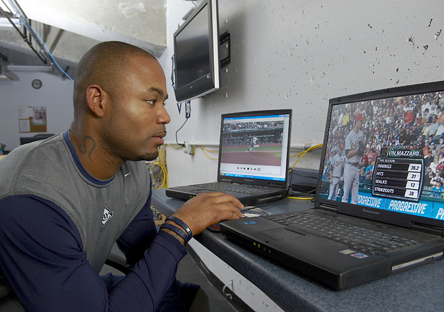 Crawford studies game tape before playing Oakland at Tropicana Field.