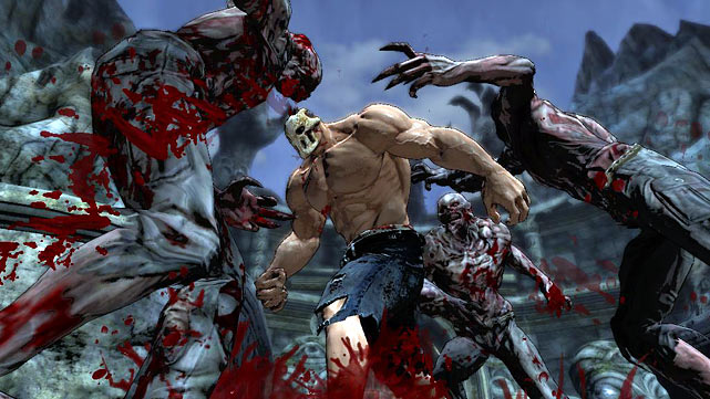 "Splatterhouse is a 3D remake of the cult classic side-scrolling arcade bloodfest of the same name. The main draw of the game is, as you'd expect from a game called ""Splatterhouse,"" the torrents of blood and gibs that flow from the pummeled bodies of your enemies. The plot is horror-movie ridiculous: you've been mortally wounded and your buxom girlfriend kidnapped. You find yourself saved at the last moment before death by a skull mask that, when placed on your face, turns you into a musclebound superman capable of regenerating limbs and absorbing blood from your attackers. The mask, when it's not taunting you with epithets not appropriate for a family publication, gives you a choice: you give it blood and it will help you get your girlfriend back.   And there will be blood. Everything you kill sprays blood across the screen, across the main character, everywhere. The gruesome faces of the monsters you fight get ripped apart, heads get popped off and torsos get pulled asunder. Remember the scene in The Shining where the hallway is flooded with blood? It's like an HP Lovecraft version of that. Splatterhouse isn't a great game. The fighting is repetitive, the dialogue and plot are juvenile and ludicrous, the collision detection is poor, the camera is frustrating. That said, the game isn't without its ridiculously insane charms and there is something satisfying about beating one monster to death with another's head. If that sounds cool to you, get thee to Splatterhouse.  Score: 7/10"