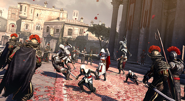 Assassin's  Creed: Brotherhood is the third game in the   Prince-of-Persia-meets-The-Matrix, parkour-infused, throat-slitting  simulator  series and, while it's very similar to its predecessor, it's  the best yet. Once  again, the player assumes the role of Desmond Miles,  the progeny of a line of  master assassins waging a multi-century war  against a secret army. Desmond is  able to connect via a machine called  the Animus into his genetic memories and  relive his ancestor's  bloodthirsty experiences in order to solve a greater  riddle taking  place in modern times.  To  call the story farfetched is an understatement, but  it makes for a  great framing structure to the game's missions which, in this  game, are  centered within and around Rome. Brotherhood is a direct sequel to   Assassin's Creed II, and, if you're in it for the story, you'd be best  served by  starting from the first game (they're all excellent). The  single player mode is  similar to the previous game, with the main  addition of an assassin team you can  recruit and deploy to make money  for you or to help you out. Rome is by far the largest  city yet in an  Assassin's Creed game, and there's an endless amount of side  missions  to carry out.  The  most mind-blowing addition to Brotherhood, however,  is the new  multiplayer mode. Players enter a city populated with   computer-controlled bystanders and as many as seven other human players.  Each  player is given a target to assassinate – one of the other humans  – who are both  hunter and hunted. The challenge is to stalk your  target slowly, blending into  the crowd, while also watching your back  for other players hunting you. There  are perks to unlock, including  disguises and gas bombs, to make yourself both a  more effective  assassin and a more elusive target. It's the most novel and  addictive  new multiplayer mode to come along in years.  There&am