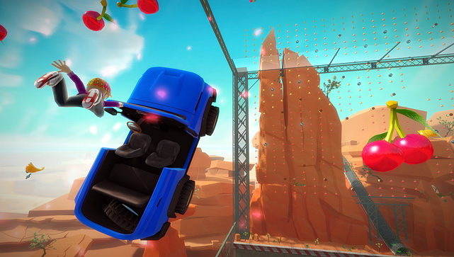 Joy  Ride is basically a kart racing  game where you steer with your hands  as if you were holding a wheel. You also  use your body to turn,  activate boosts, and to jump the car to perform aerial  stunts. The core  of Joy Ride is pretty solid with a host of racing options like  career,  stunt, power-ups, drag racing and more. As you progress you'll unlock   new vehicles and challenges. The tracks and environments are colorful  and  engaging. The problem with the game is the handling of the  vehicles. Driving  game veterans will feel the lack of steering  precision derived from  controller-based games. Joy Ride also supports  split-screen multiplayer  action.  Score:  5/10