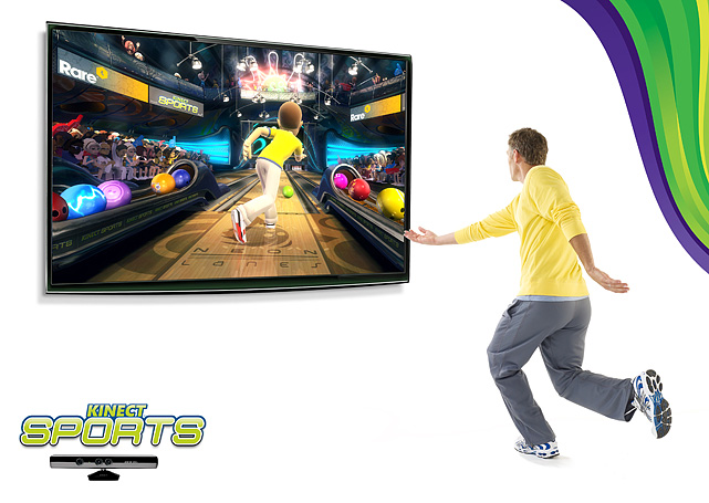 Kinect  Sports includes versions of  the following sports; soccer, beach  volleyball, bowling, table tennis, track  & field and boxing. The  games require a wide variety of movement from simply  swinging your arm  to return a table tennis serve or running and jumping in place  during a  hurdles race. There's a little bit of lag between your physical actions   and what happens on screen, though it's more noticeable in a game like  table  tennis versus bowling. The games all have a learning curve as  you explore how to  best move to achieve the best results, but it's  mostly one-to-one and natural.  The graphics and sound are handled well  and there's plenty of replay value  especially in local and online  multiplayer action. This is definitely the game  you'll be breaking out  when you have friends over to check out  Kinect.  Score:  8/10