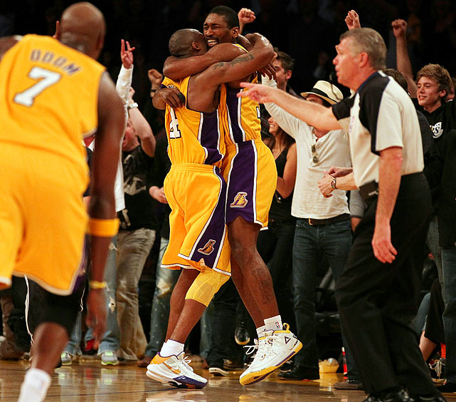 With the series tied 2-2 and the game tied 101-101 in Los Angeles, Ron Artest retrieved Kobe Bryant's layup and quickly laid it in to beat the buzzer. Artest was an unlikely hero: Phil Jackson considered benching him in the final minute after two errant long jumpers from Artest, who finished 2-of-9. Artest's dramatic put-back spoiled a nice comeback by the Suns, who rallied from an 18-point second-half deficit and tied it with 3.5 seconds remaining on Jason Richardson's banked-in three-pointer. Phoenix never led in the second half.