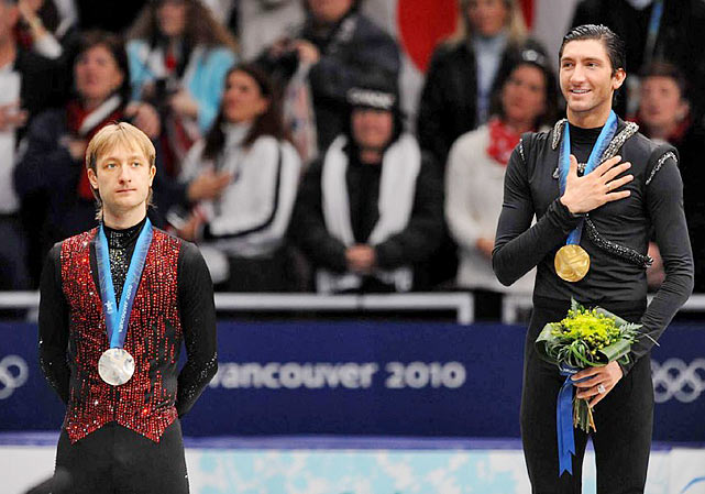 Lysacek, without a quadruple jump, became the first American man to take home Olympic gold in figure skating since Brian Boitano in 1988, laying down a passionate, difficult, nearly perfect program to pass Russia's Evgeni Plushenko, he of the quad-triple jump. It wasn't that Plushenko, the defending Olympic champion, imploded. Far from it. In addition to his quad, he landed all seven of his triple jumps, completed all his spins, stayed on his feet, mugged and preened for the judges, and showed the supreme confidence that borders on arrogance -- which is his trademark. No, Plushenko lost in his bid to become the first man since Dick Button ('48, '52) to repeat as Olympic champion, because Lysacek, who had skated confidently all week, wrested the gold away from him.