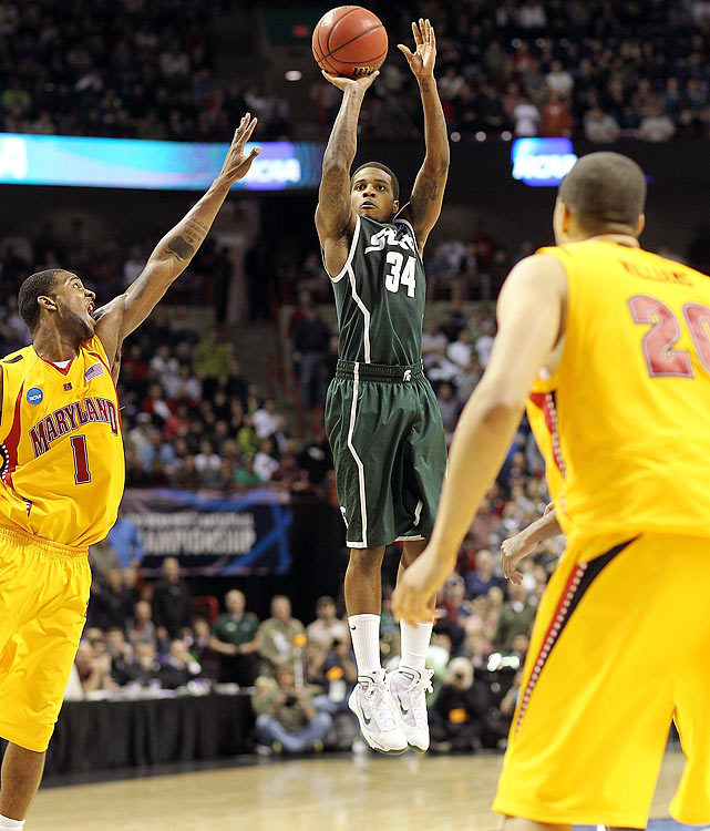 The game featured four lead changes in the final 39 seconds, capped by Korie Lucious' game-winning three-pointer at the buzzer. Michigan State star Kalin Lucas tore his Achilles tendon at the end of the first half and the Spartans blew a 16-point lead in the second half. But Lucas' replacement, Lucious, drilled the shot for an MSU team that would go on to reach its sixth Final Four in the last 12 years.