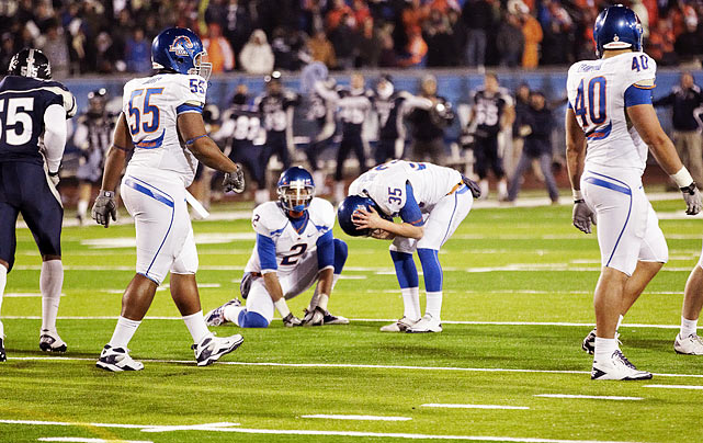 "Two storylines dominated the 2010 college football season: Cam Newton's off-field saga and Boise State's worthiness as a national championship participant. When Chris Petersen's third-ranked Broncos took the field in Reno, the latter talking point proved moot. After allowing Nevada to chip away at a 17-point lead, Boise put itself in position to steal back the victory with a 53-yard pass from Kellen Moore to Titus Young. But typically reliable kicker Kyle Brotzman missed the would-be game-winner from 26 yards, then missed a 29-yarder in overtime. ""It is the greatest victory this university has ever had, I can tell you that,"" Nevada coach Chris Ault said."