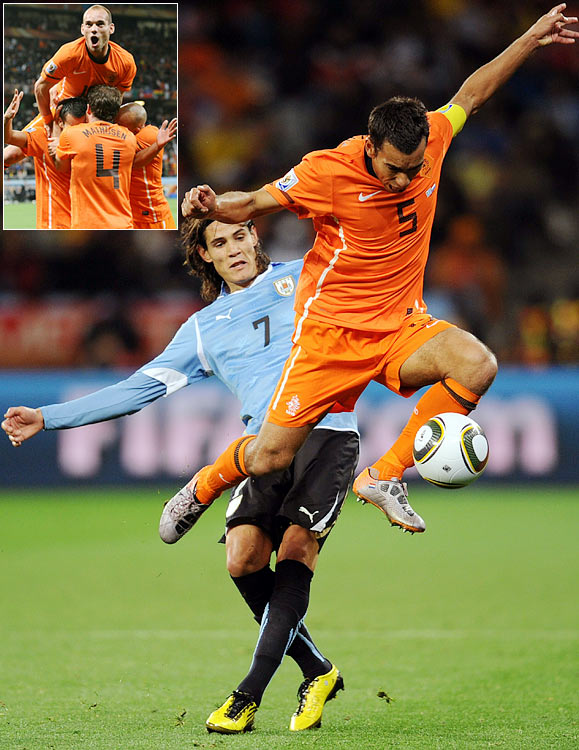 The five-goal thriller saw the return of the fluid attractive attacking soccer for which Netherlands is famed. The Netherlands edged resilient Uruguay -- a team heavily reliant on indomitable forward Diego Forlan -- with the help of arguably the goal of the tournament, a 35-yard strike from captain Giovanni van Bronckhorst.