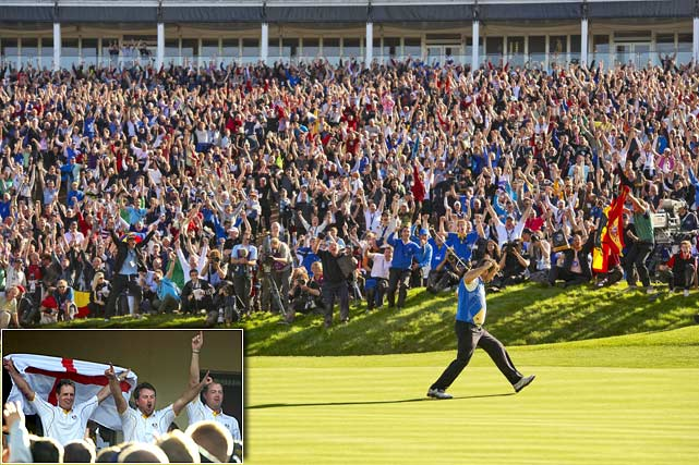 With copious rain necessitating the first Monday finish in Ryder Cup history, the Americans rallied under blue skies but couldn't quite produce a 1999-style miracle in the singles, and Europe won 141/2-131/2 to reclaim the Cup. The U.S. won the singles matches 6-4-2, but after suffering one of the worst routs in the history of the Ryder Cup in the third session, it wasn't quite enough. Needing just five points to win back the Cup, Europe got exactly five when U.S. Open champion Graeme McDowell birdied 16 and hung on to defeat Hunter Mahan 3 and 1 in an anchor match many initially thought would mean nothing.