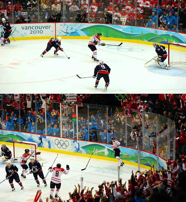 It was gold or bust for the proud host nation, so after losing an Olympic match (in group play) to the U.S. for the first time in 50 years, Canada sweated out the rematch in Vancouver. Clawing out of a 2-0 hole, Team USA tied the game 2-2 when Zach Parise scored off a frantic scramble with a mere 24.4 seconds left to play. The game went into overtime where Sidney Crosby became Canada's hero. Hustling to grab the loose puck in the left corner of the U.S. zone, he passed to Jarome Iginla, took the return feed and fired a shot between the skates of goaltender Ryan Miller at the 7:40 mark. Crosby's goal and the subsequent celebration are now part of Canadian hockey lore.