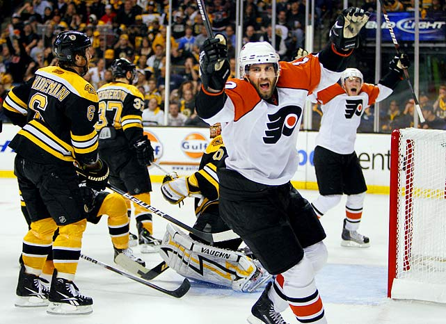 Up three games to none, the Bruins were pushed to the decisive match on home ice by the tenacious Flyers and led 3-0 when the floodgates began to creak open. The Flyers' James van Riemsdyk scored with 2:48 left in the first period. Scott Hartnell and Danny Briere tallied in the second. The game went into the third tied, 3-3. In a nightmare repeat of their disastrous playoff moment against Montreal in 1979, the Bruins were penalized for having too many men on the ice. Simon Gagne scored on the ensuing power play with 7:08 left and the Flyers held on to their 4-3 lead, becoming only the third NHL team to climb out of a three-games-to-none hole and win a seven-game series.